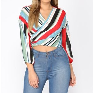 Multicolor Striped Wrapped Blouse